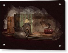 Still Life With Antique Books, Silver Pitcher And Inkwell Acrylic Print
