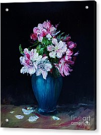 Still Life With Apple Tree Flowers In A Blue Vase Acrylic Print