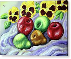 Acrylic Print featuring the painting Still Life With Apples by Inese Poga