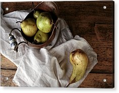 Still-life With Arrangement Of Pears  Acrylic Print by Nailia Schwarz