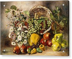 Still Life With Asters And Basket Of Fruit Acrylic Print by Celestial Images
