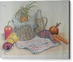 Still Life With Baby Pineapple Acrylic Print by Geraldine Leahy
