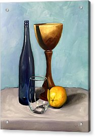 Still Life With Blue Bottle Acrylic Print by RB McGrath
