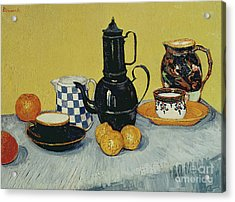 Still Life With Blue Enamel Coffeepot, Earthenware And Fruit, 1888 Acrylic Print by Vincent Van Gogh