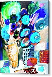 Still Life With Blue Flowers Acrylic Print by Amara Dacer