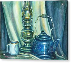 Still Life With Blue Tea Kettle Acrylic Print by Colleen  Maas-Pastore