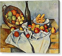 Still Life With Bottle And Apple Basket Acrylic Print by Paul Cezanne