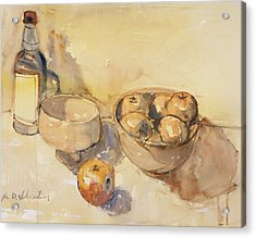 Still Life With Bottle And Apples Acrylic Print