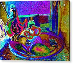 Still Life With Ceramic Chicken Acrylic Print by Howard Lancaster