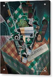 Still Life With Checked Tablecloth Acrylic Print by Celestial Images