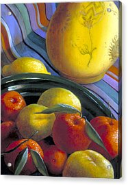 Still Life With Citrus Acrylic Print by Nancy  Ethiel