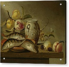 Still Life With Clay Jug, Fish And Fruits Acrylic Print by Harmen Steenwijck