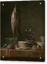 Still Life With Fish, Vegetables, Gougeres, Pots, And Cruets On A Table  Acrylic Print