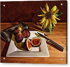 Still Life With Flower And Figs Acrylic Print