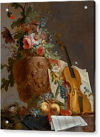 Still Life With Flowers And A Violin Acrylic Print by Jean-Jacques Bachelier