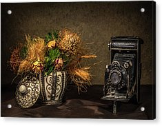 Still Life With Flowers And Camera Acrylic Print by Wim Lanclus