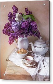 Acrylic Print featuring the photograph Still Life With Fresh Lilac And China Pots by Jaroslaw Blaminsky