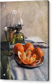 Still Life With Fresh Tangerines And Oil Lamp Acrylic Print by Jaroslaw Blaminsky