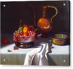 Still Life With Fruit And Cut Glass Bowl Acrylic Print by David Olander