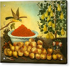 Still Life With Fruit Bird And Dwarf Pear Tree Acrylic Print by Mountain Dreams