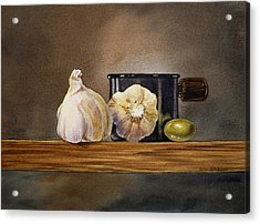 Still Life With Garlic And Olive Acrylic Print