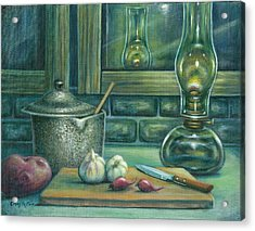 Still Life With Garlic Acrylic Print by Colleen  Maas-Pastore
