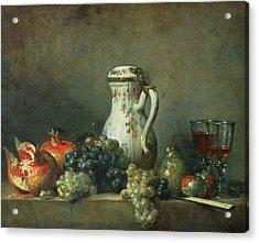 Still Life With Grapes And Pomegranates Acrylic Print by Jean-Baptiste Simeon Chardin