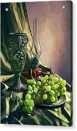 Acrylic Print featuring the photograph Still Life With Green Grapes by Jaroslaw Blaminsky