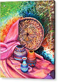 Still Life With Indian Pottery  Acrylic Print