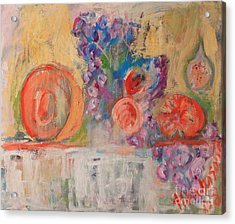 Still Life With Melon And Fig Acrylic Print by Michael Henderson