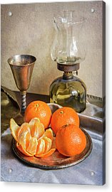 Acrylic Print featuring the photograph Still Life With Oil Lamp And Fresh Tangerines by Jaroslaw Blaminsky