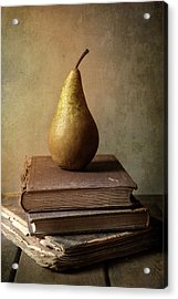 Acrylic Print featuring the photograph Still Life With Old Books And Fresh Pear by Jaroslaw Blaminsky