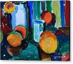 Still Life With Orange Acrylic Print by Andrey Semionov
