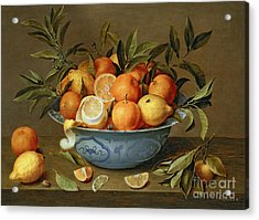 Still Life With Oranges And Lemons In A Wan-li Porcelain Dish  Acrylic Print by Jacob van Hulsdonck