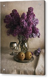 Acrylic Print featuring the photograph Still Life With Pears And Fresh Lilac by Jaroslaw Blaminsky