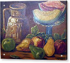 Still Life With Pears And Melons Acrylic Print by Hilda Schreiber