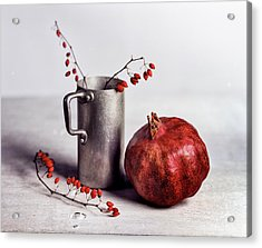 Still Life With Pomegranate Acrylic Print by Nailia Schwarz