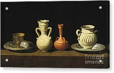 Still Life With Pottery Jars Acrylic Print by Celestial Images