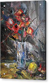 Still Life With Red Flowers And Lemon Acrylic Print