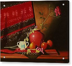 Still Life With Red Vase. Acrylic Print by Gene Gregory