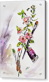 Still Life With Roses And Artist Tools Acrylic Print