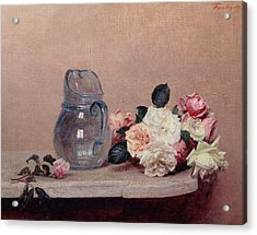 Still Life With Roses Acrylic Print by Ignace Henri Jean Fantin-Latour