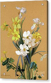 Still Life With Spring Flowers Acrylic Print by Jean Benner