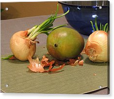 Still Life With Sprouted Onions And Mango Acrylic Print
