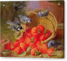 Still Life With Strawberries And Bluetits Acrylic Print