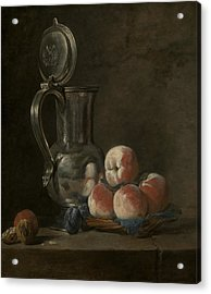 Still Life With Tin Pitcher And Peaches  Acrylic Print