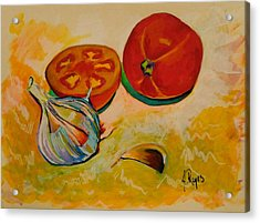 Still Life With Tomatoes And Garlic Acrylic Print