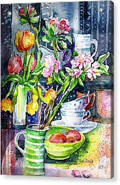 Still Life With Tulips And Apple Blossoms  Acrylic Print by Trudi Doyle