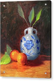 Still Life With Vase And Fruit Acrylic Print