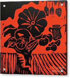 Still Life With Veg And Utensils Black On Red Acrylic Print by Caroline Street
